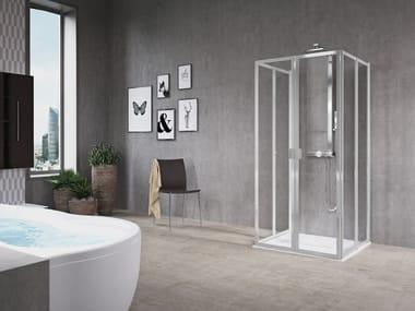 Box doccia angolare con porta a battente FREE 1 | 2 U (VERSIONE ALTA)