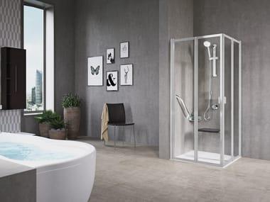 Box doccia angolare con porta a soffietto FREE 2 | A (VERSIONE ALTA)