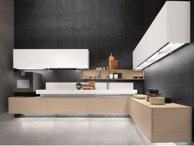 Contemporary style lacquered stainless steel fitted kitchen without handles FREE