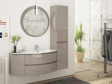 Single wall-mounted HPL vanity unit with cabinets FREEDOM F04