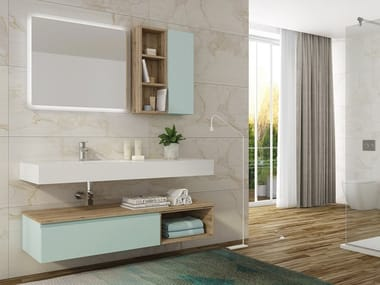 Single Wall Mounted HPL Vanity Unit With Mirror FREEDOM F08. LEGNOBAGNO