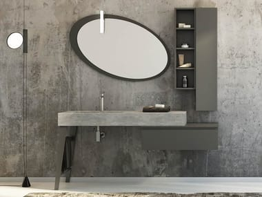 Single porcelain stoneware vanity unit with doors with mirror FREEDOM F24