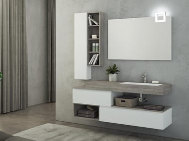 Lacquered Wall Mounted HPL Vanity Unit With Mirror FREEDOM F26. LEGNOBAGNO