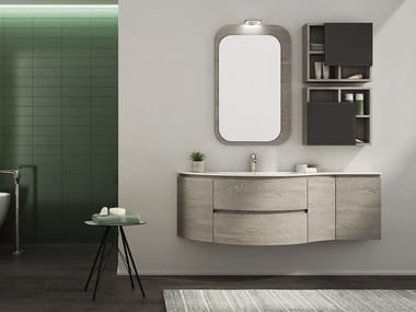 Single Wall Mounted HPL Vanity Unit With Mirror FREEDOM F30. LEGNOBAGNO