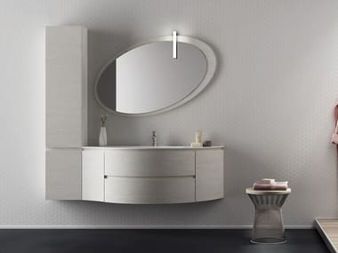 Single Wall Mounted HPL Vanity Unit With Mirror FREEDOM F31. LEGNOBAGNO