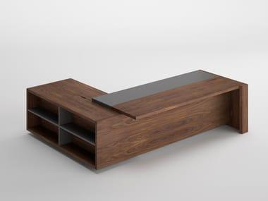 Wood veneer executive desk with drawers FREEPORT   Executive desk