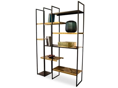 Open freestanding double-sided metal bookcase FREEWALL | Divider bookcase