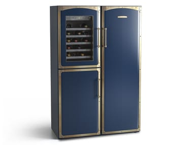 Freestanding combi refrigerator with glass door FRK002 | Refrigerator with wine cooler