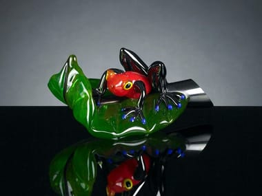 Glass decorative object FROG ON A LEAF