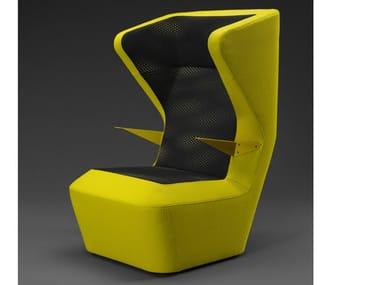 Fabric armchair with armrests FUGA | Fabric armchair