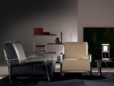 Upholstered leather armchair with armrests FUJIYAMA | Leather armchair