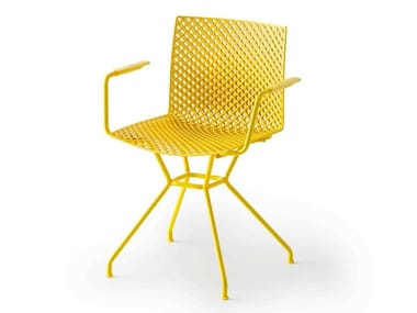 Trestle-based technopolymer chair with armrests FULLER TCS
