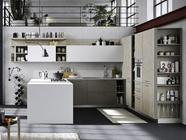 Wooden fitted kitchen with handles with peninsula FUN   Lacquered kitchen