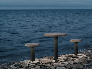 Round garden table with light FUNGHI | Floor lamp