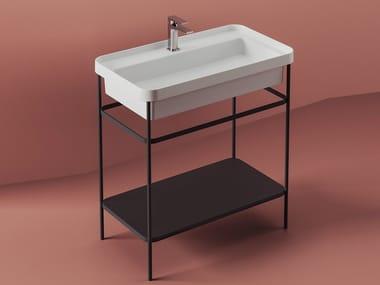 Floor-standing metal vanity unit with towel rail FUORI SCALA | Metal vanity unit