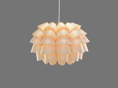 Luminária pendente LED feita à mão de folheado de madeira FURU9 | Luminária pendente