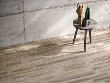 Pavimento/rivestimento in gres porcellanato effetto legno FUSIONART BROWN