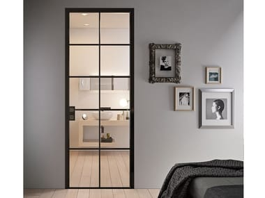 Contemporary style hinged aluminium door with concealed hinges G-LIKE CROSS