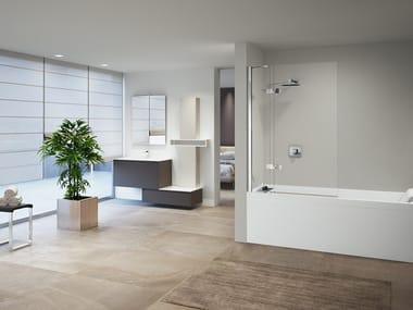 Glass and aluminium bathtub wall panel GALA 3V