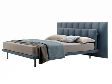 Fabric double bed with upholstered headboard GALA