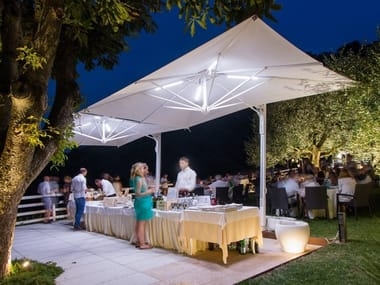 Adjustable rectangular Garden umbrella with built-in lights GALILEO | Garden umbrella with built-in lights