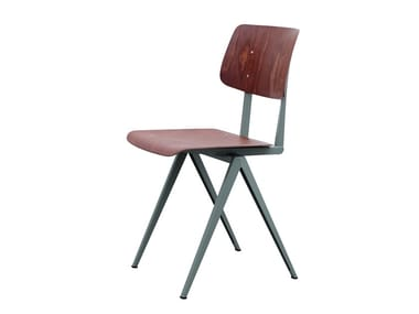 Steel and wood chair GALVANITAS S16 - Cement grey/Red brown