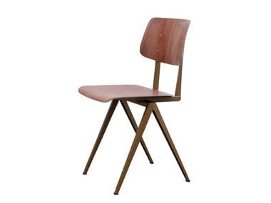 Steel and wood chair GALVANITAS S16 - Pearl gold/brown