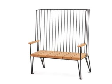Panchina in acciaio e legno con schienale GARD | Panchina con schienale