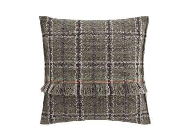 Square tartan outdoor polypropylene cushion GARDEN LAYERS GREEN | Square cushion