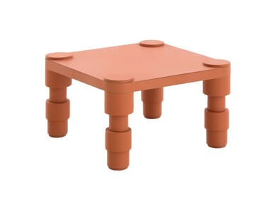 Square thermo lacquered aluminium garden side table GARDEN LAYERS TERRACOTTA | Coffee table