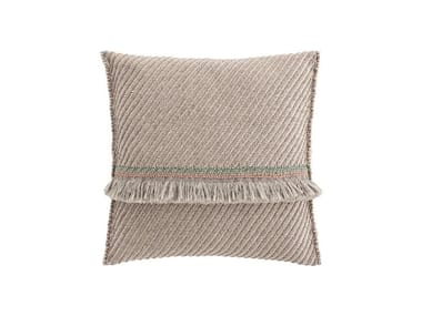 Striped square outdoor polypropylene cushion GARDEN LAYERS TERRACOTTA | Square cushion