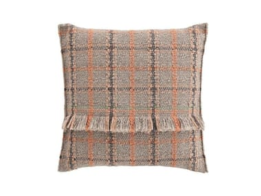 Square tartan outdoor polypropylene cushion GARDEN LAYERS TERRACOTTA | Square cushion