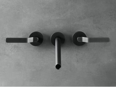 Robinet pour lavabo 3 trous mural en acier inoxydable GARDEN | Robinet pour lavabo mural