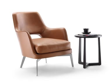 Leather armchair with armrests GATSBY