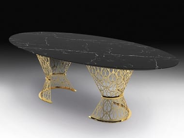Oval Nero Marquina marble table GATSBY