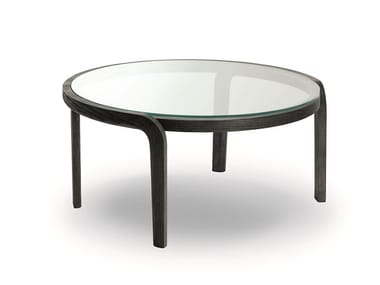 Round wood and glass coffee table GENEA COFFEE TABLE GLASS TOP