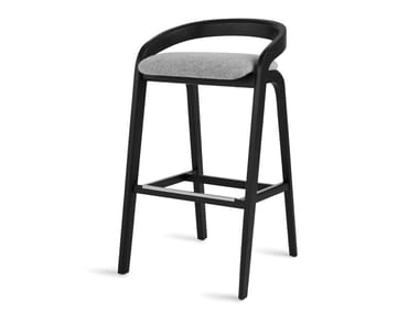 High solid wood stool with back GENEA BARSTOOL