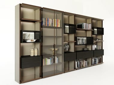 Sectional aluminium storage wall with integrated lighting GENESIS   Storage wall