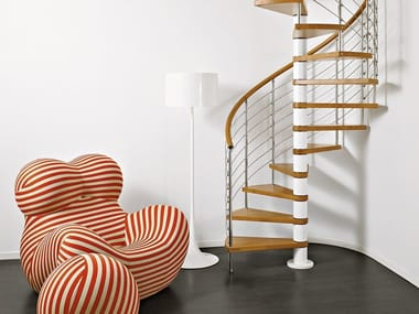 Stainless steel and wood Spiral staircase GENIUS 050   Spiral staircase