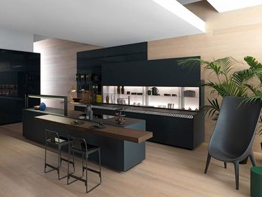 Kitchen in matt slate glass with V-Motion GENIUS LOCI V-MOTION