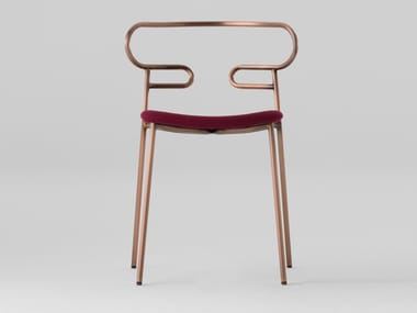 Open back metal chair with integrated cushion GENOA | Chair with integrated cushion