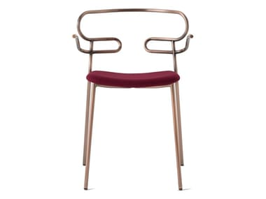 Metal restaurant chair with armrests with integrated cushion GENOA | Restaurant chair
