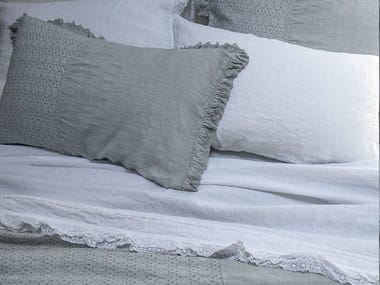 Solid-color embroidered linen bedding set GENZIANA | Bedding set