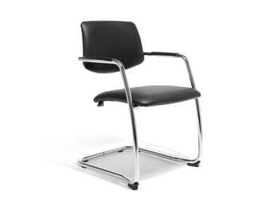 Cantilever leather chair with armrests GEORGIA | Leather waiting room chair