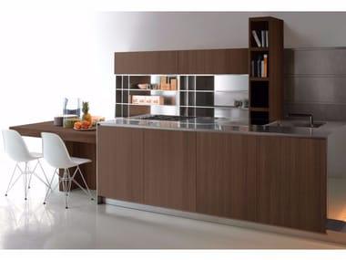 Cucina in acciaio e legno con isola GHOST EUCALIPTO
