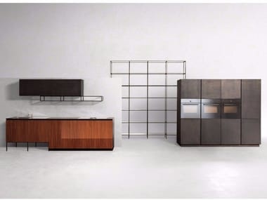 Linear steel and wood kitchen GHOST MAHOGANY