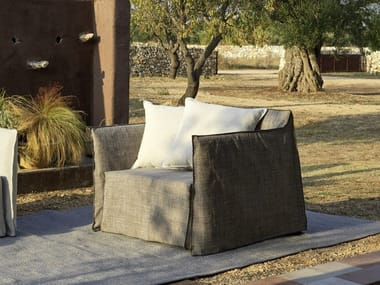 Garden armchair with removable cover with armrests GHOST OUT 09