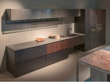 Cucina lineare con maniglie integrate GHOST