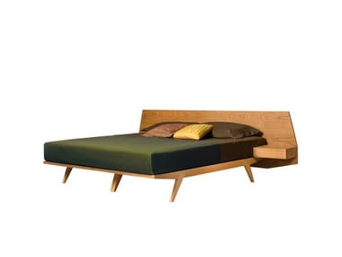 Cherry wood double bed with integrated nightstands GIÒ | Double bed