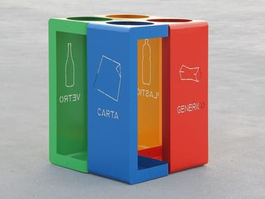 Outdoor steel litter bin for waste sorting GIBILLERO